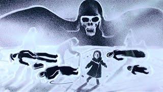"""Рисование снегом! """"Этого нельзя забыть"""" (Ксения Симонова) - Snow art """"Leningrad"""" / Видео"""