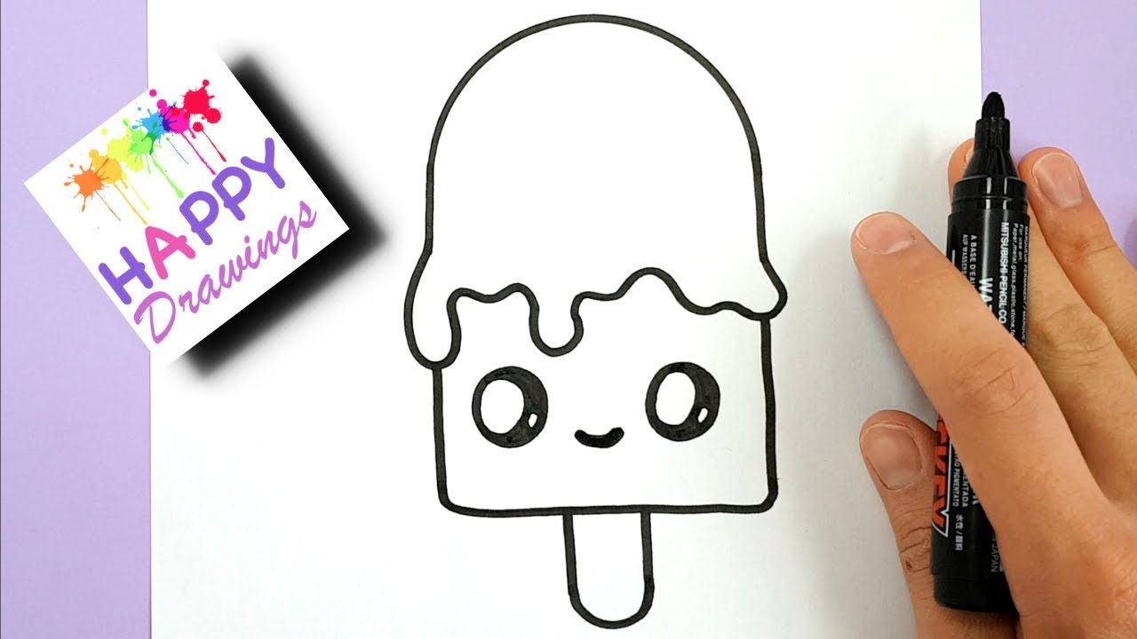 HOW TO DRAW A CUTE MELTING ICE CREAM STEP BY STEP - HAPPY DRAWINGS #1