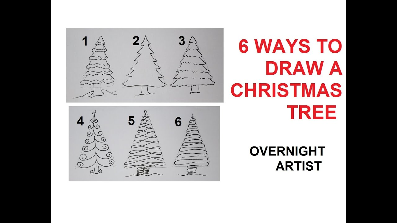How To Draw Christmas Trees   6 Easy Ways To Draw Xmas Tree   YouTube