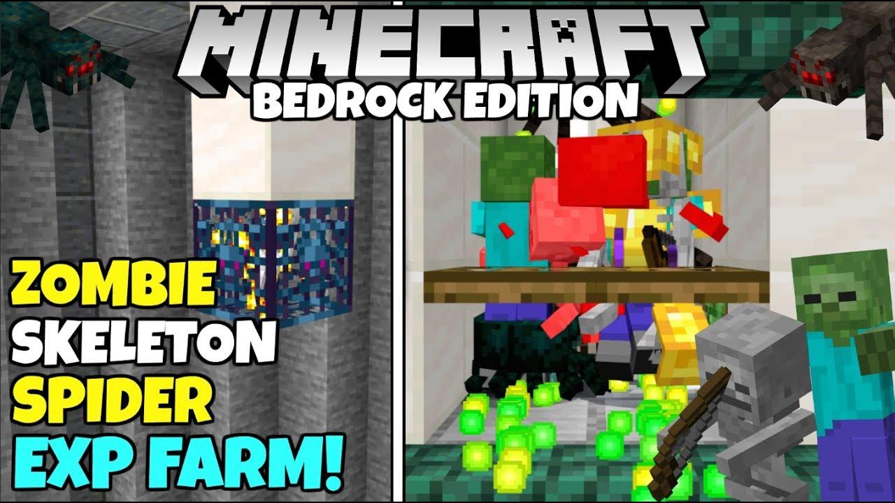 Minecraft Bedrock: Zombie/Skeleton/Spider EXP Farm Tutorial! MCPE Xbox PC