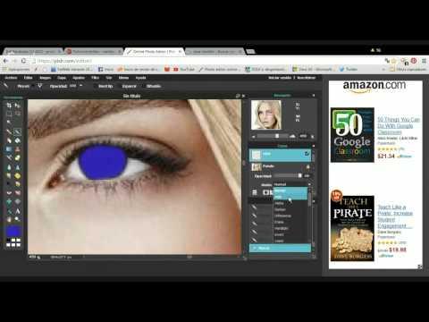 Pixlr.com/editor - cambio de apariencia de la cara de una modelo.