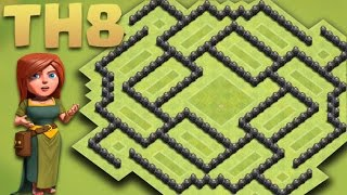 CLASH OF CLANS - Best Town hall 8 (TH8) New Hybrid/Farming Base [The Funnel] 2016 + Replays