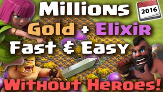 Clash of Clans - Strategy for Fast & Easy Gold and Elixir NO HEROES (Episode 4)