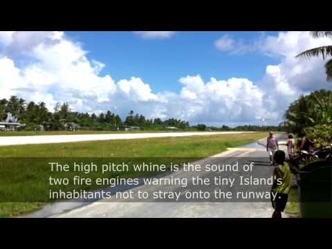 A plane landing at Tuvalu's tiny airport in Funafuti in 2013