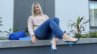 Catie Reviews Fabulicious POISE-01 Aqua Blue Clear 5 Inch High Heel Shoes Outdoors At Her Apartment