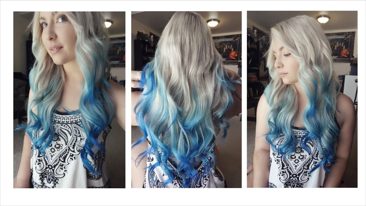 How i dyed my hair blue ombre balayage youtube urmus Choice Image