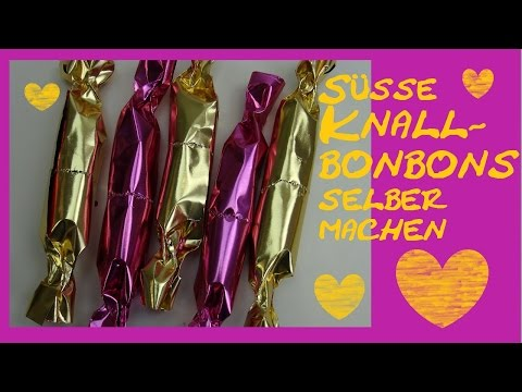 Knallbonbons für Silvester selber machen als Tischdeko und Überraschung / deutsch