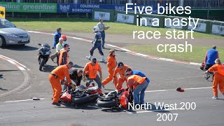 North West 200 - FIVE BIKE CRASH 2007