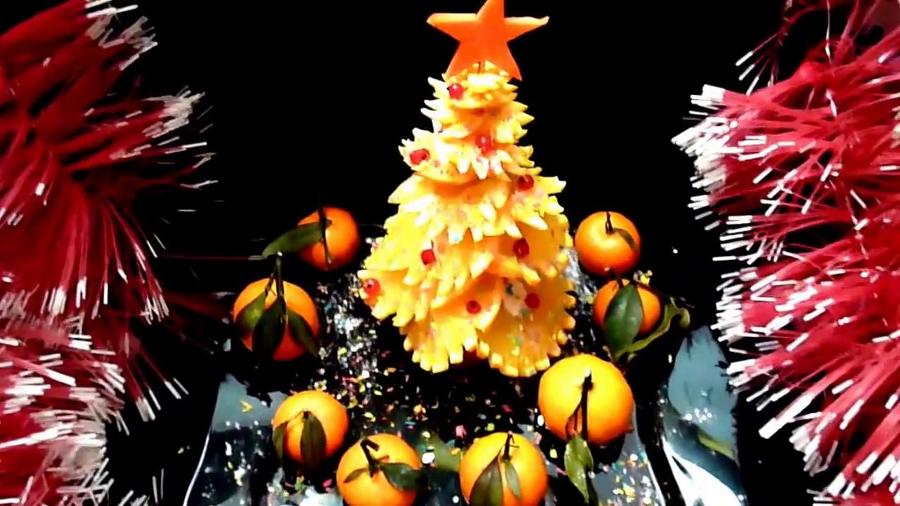 Orange christmas tree decoration fruit carving