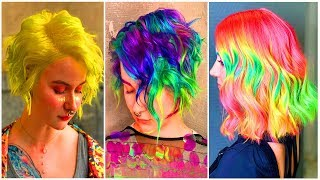 15 Most Amazing Short Hair Color Transformation Tutorial Compilation! Neon Colorful Hair