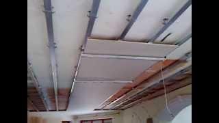 #1. гипсокартонный потолок, секрет монтажа в одиночку. One man drywall installation.(one man drywall installation on ceiling. Это САМЫЙ ЛЕГКИЙ СПОСОБ установить ЦЕЛЫЕ ЛИСТЫ ГИПСОКАРТОНА на потолок в одиночку,..., 2013-07-02T18:13:23.000Z)