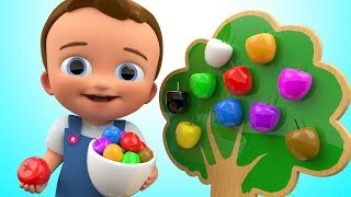 learn colors for children with apple fruits 3d wooden toys kindergarten toddler kids educational vid