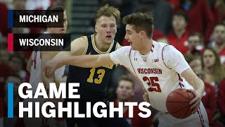 Highlights: Michigan at Wisconsin | Big Ten Basketball