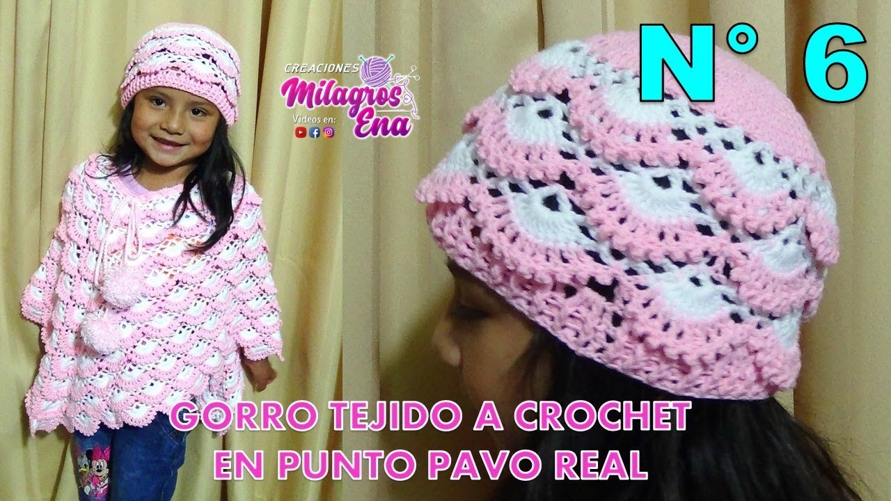 Gorro tejido a crochet para niñas paso a paso en punto pavo real y relieves f981e020386
