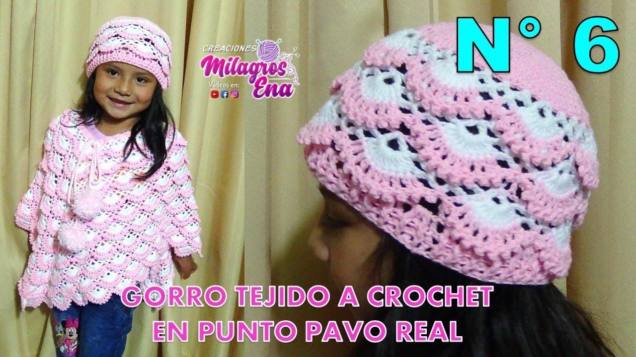 ea459a531 Gorro tejido a crochet para niñas paso a paso en punto pavo real y relieves