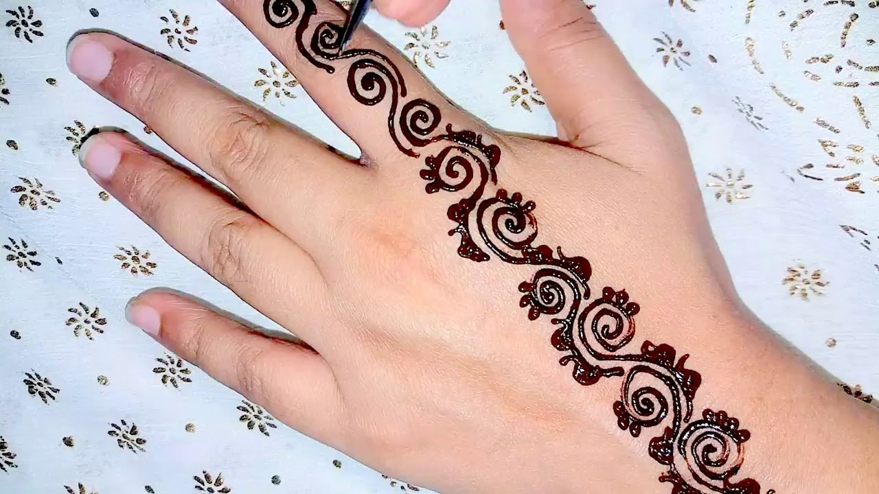 Simple Easy Line Arabic Curly Mehendi Design For Upper Hand New