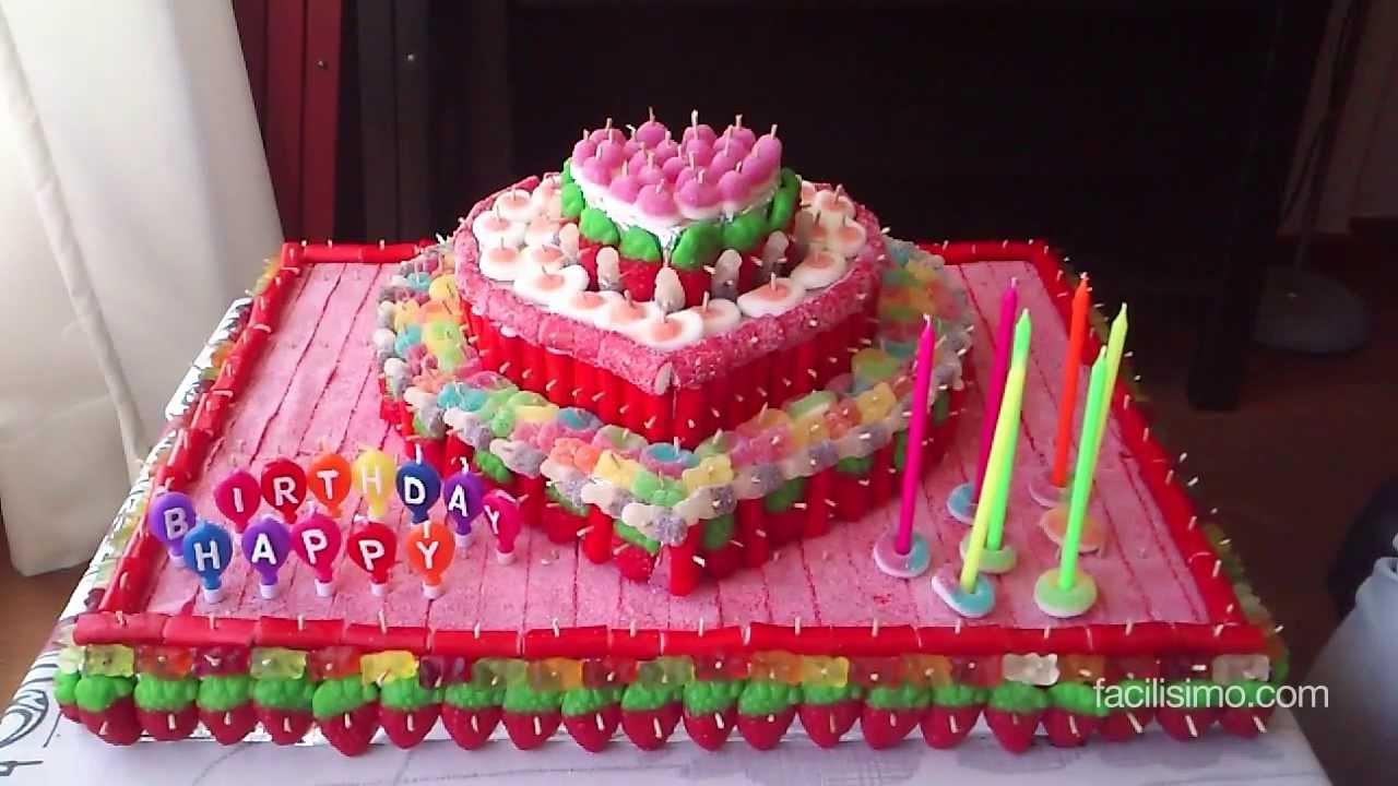 Cmo hacer una tarta de chuches  facilisimocom  YouTube
