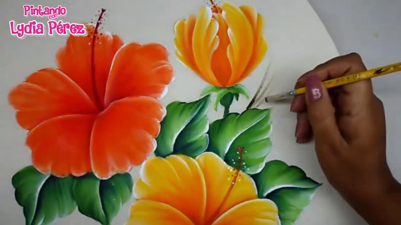 Pintura En Tela Como Pintar Flores Fácil / Hibiscos / How ...