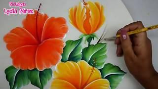 Pintura textil, Pintura en tela como pintar flores fácil / hibiscos / How to pait Hibiscus flower