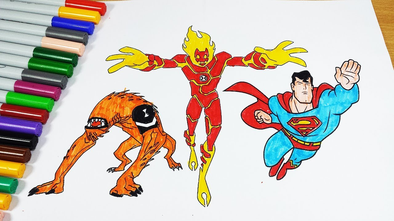 Coloring Pages Ben 10 Wildmutt Heatblast Superman - Coloring Videos ...