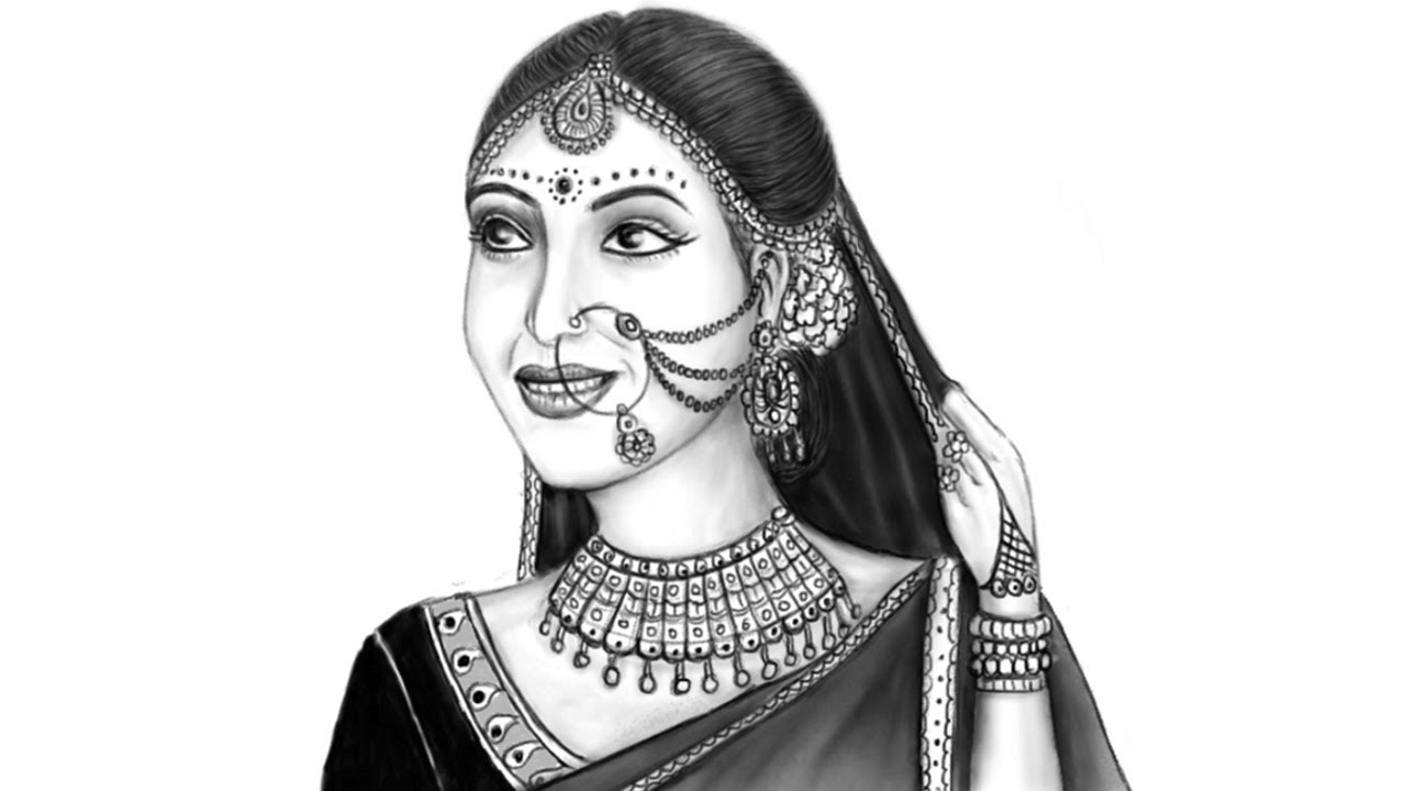 Pencil sketch beautiful indian woman in bridal makeup mypaint drawing