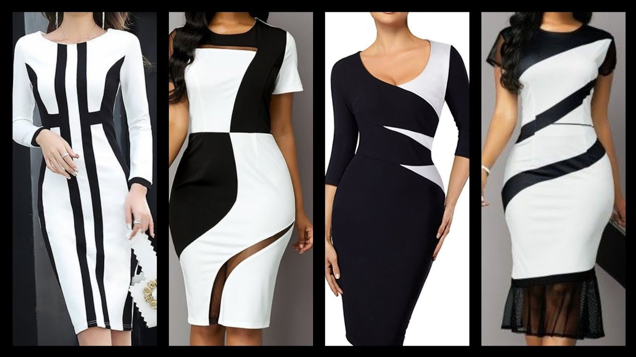 hottest Bodycon black & white office wear dresses collection for business  women and girls
