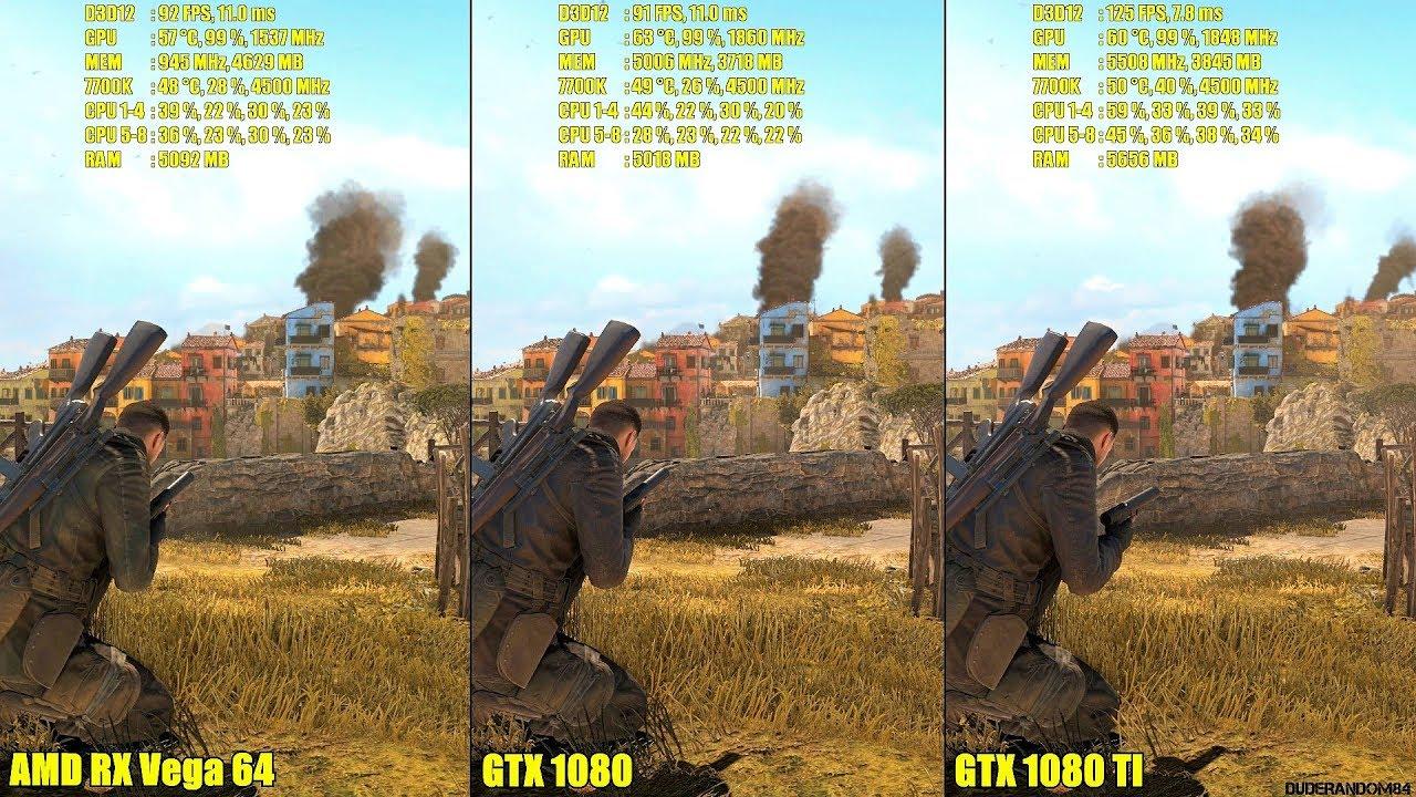Sniper Elite 4 DX12 AMD RX Vega 64 Vs GTX 1080 Vs GTX 1080 TI Frame Rate  Comparison