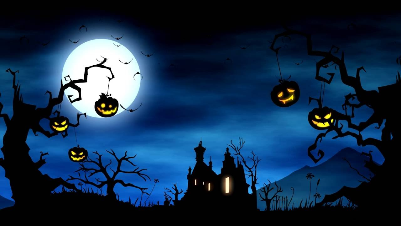4k cartoon video background halloween yard background animation royalty free uhd youtube - Halloween Background Video