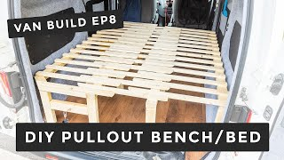 Unique DIY Pullout Bench/Bed With Storage, In 3 Sections | Ep 8 | Nissan NV200 Camper Van Build