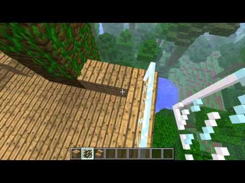 como hacer una casa del arbol en minecraft (selva) - YouTube