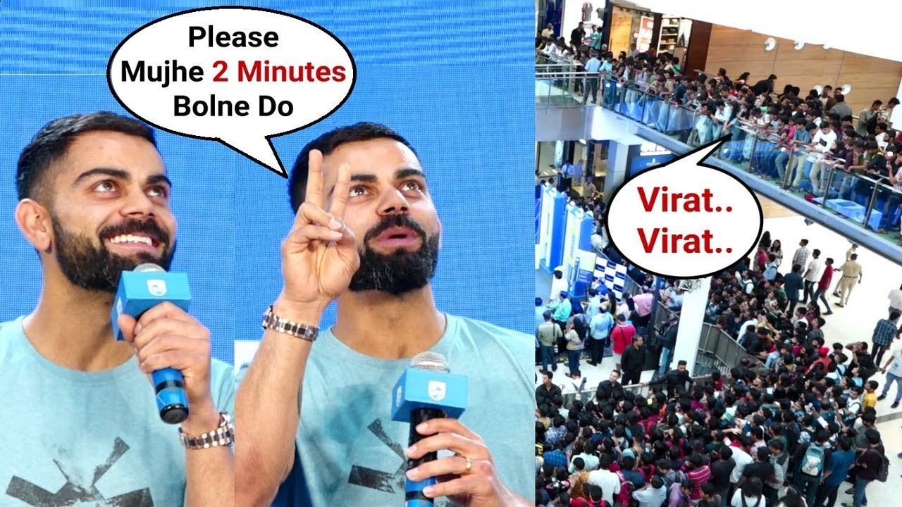 Download Virat Kohli Fans Not Letting Him Talk At One Blade Launch At Oberoi Mall