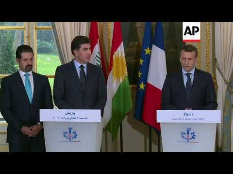 Macron says France committed to Iraqi unity as meets Kurd PM