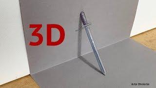 ¡Cómo dibujar una espada en 3D! - Narrado