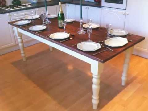 Merveilleux 7ft Shabby Chic Hand Painted 10 Seater Farmhouse Kitchen Table / Dining  Table