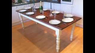 7ft Shabby Chic Hand Painted 10 Seater Farmhouse Kitchen Table / Dining Table