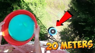 10 KILOGRAM WATER STRESS BALL ON THE TRAMPOLINE FROM THE 40TY METER TOWER! WHAT CAN GO WRONG?