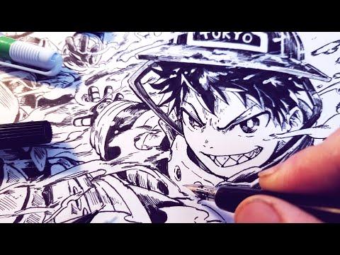 Drawing EPIC Fire Force Splash Page!   Anime Manga Sketch