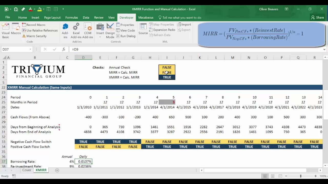 How to Calculate XMIRR with Excel and VBA Function