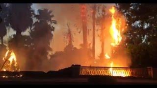 فيديو.. اللقطات الأولى لحريق هائل بكورنيش النيل