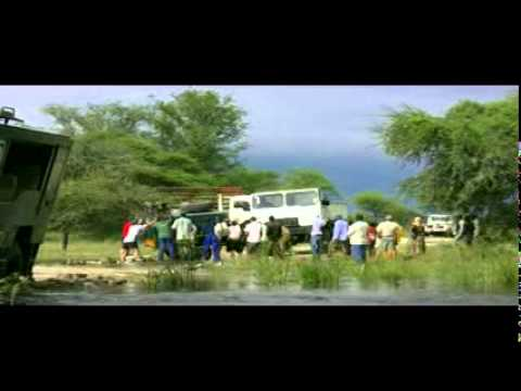 overland truck breaks trough wooden bridge in the okavango delta botswana