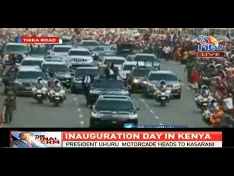 President Uhuru Kenyatta's motorcade heads to Kasarani #InaugurationKE