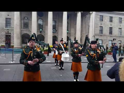 Irish Defence Forces Pipe Band &  Army No.1 Band Perform outside G.P.O. Dublin. Easter Sunday 2017.