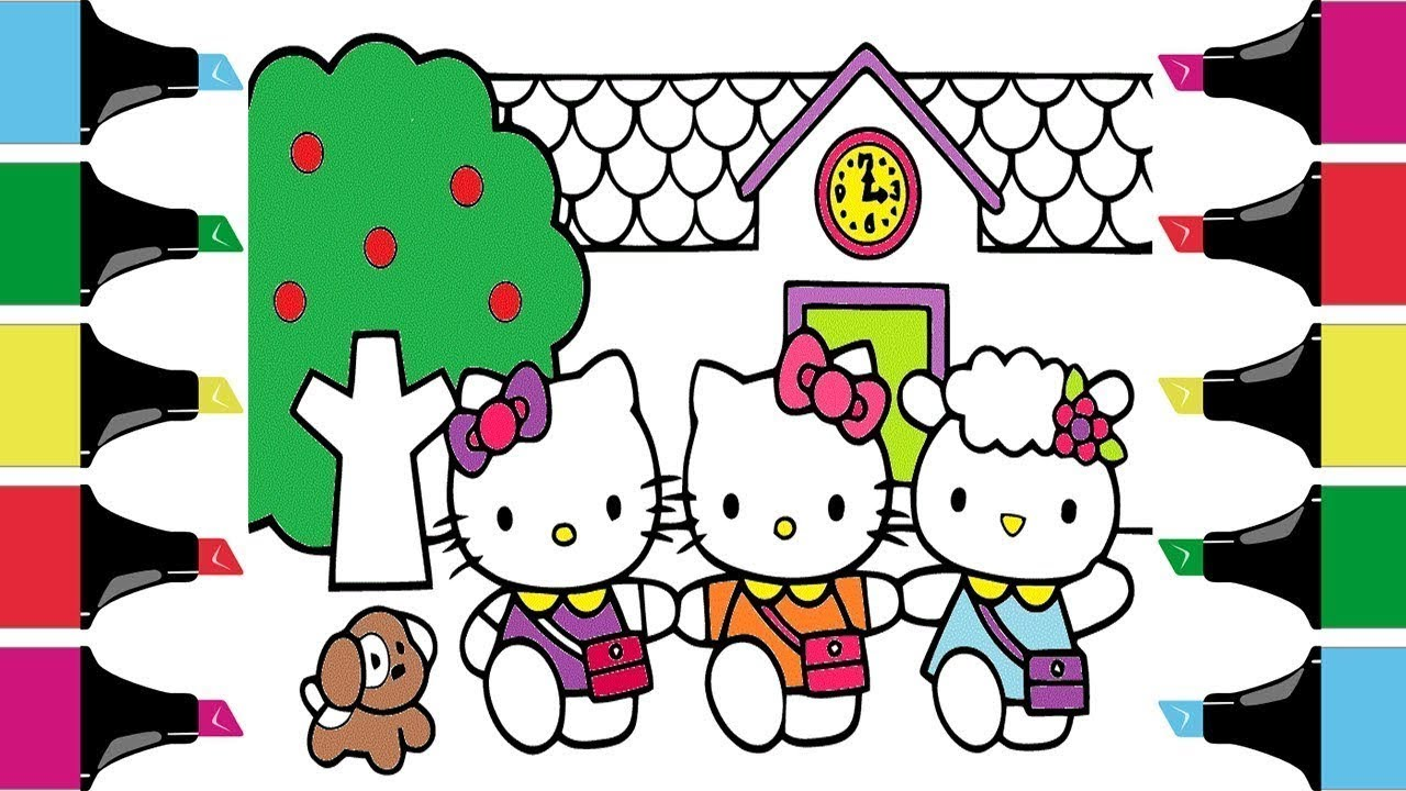 Coloring book three little hello kittyhello kitty coloring pages