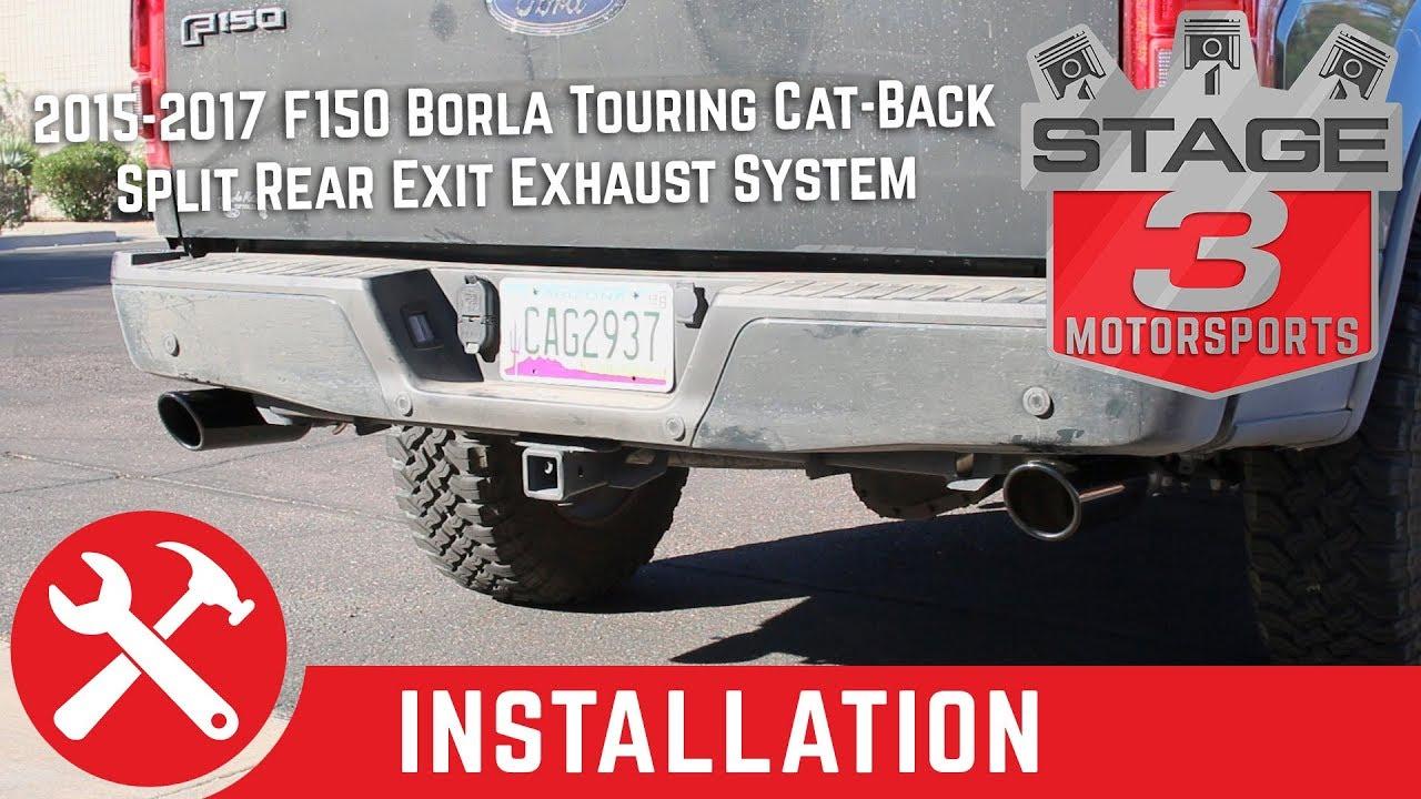 2015 2017 f150 3 5l ecoboost borla touring split rear exit cat back exhaust install sound clip
