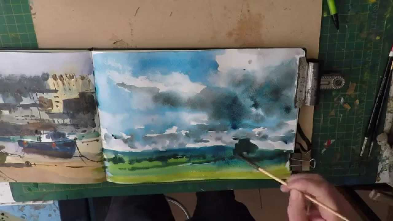 How To Paint Rain Clouds In Watercolour Youtube