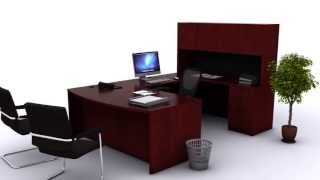 New Life Office - U-shaped Bow Front Desk (cherry)