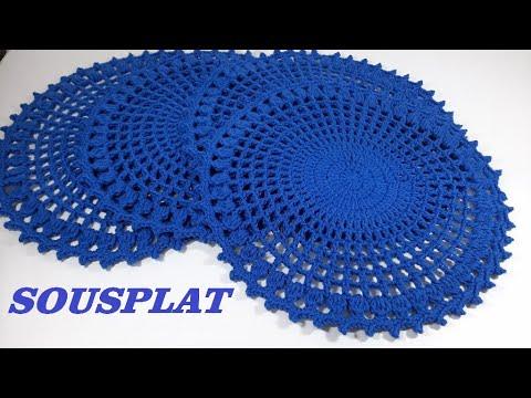 Sousplat  de Crochê  para iniciante Azul Clássico por Neddy Ghusmam