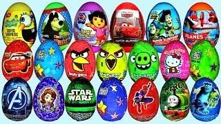 Repeat youtube video 36 Surprise eggs Disney Cars Sofia Dora the Explorer Toy Story Kinder Surprise