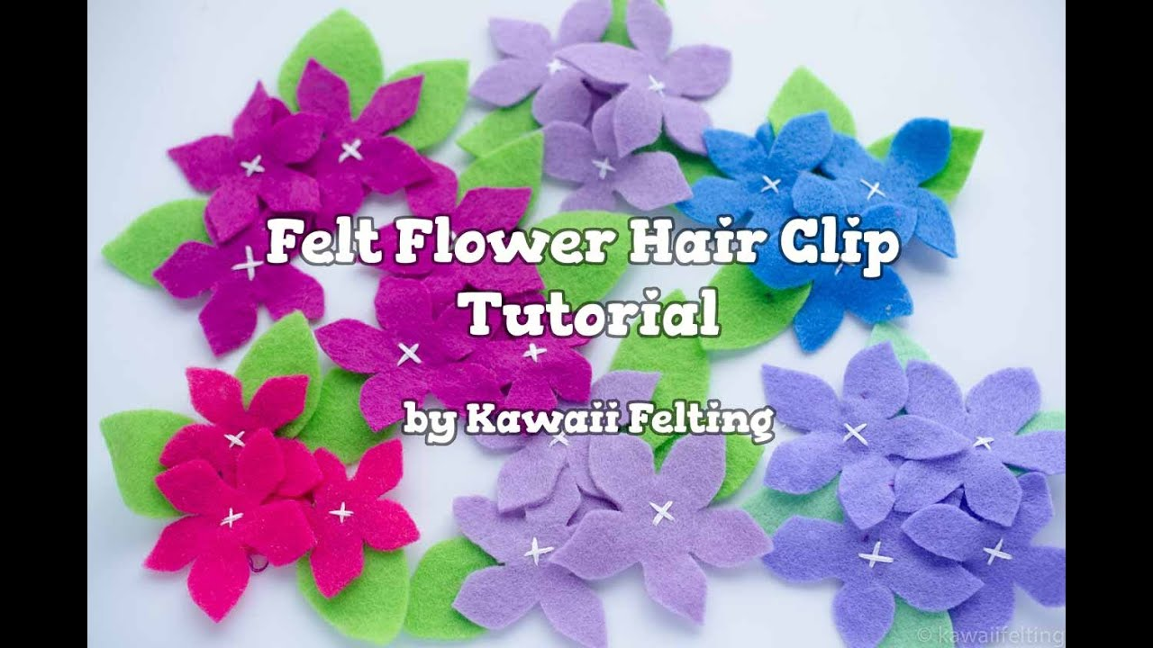 Kawaii Diy Felt Flowers Hair Clip Diy Hair Accessories Youtube