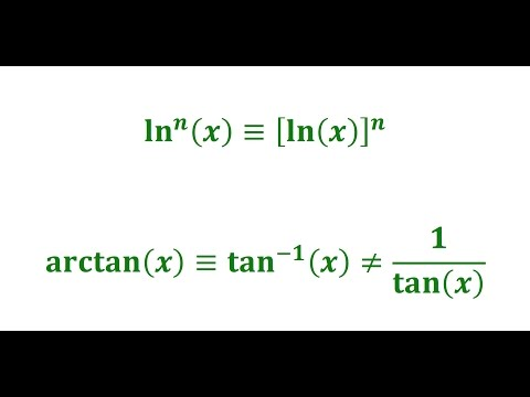 The difference between arctan, tan^(-1), cotangent, and ln^2(x) vs ln(x)^2